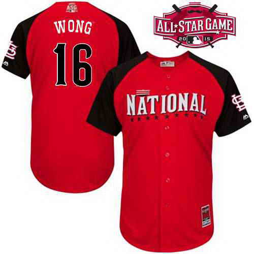 Men's National League St. Louis Cardinals #16 Kolten Wong 2015 MLB All-Star Red Jersey