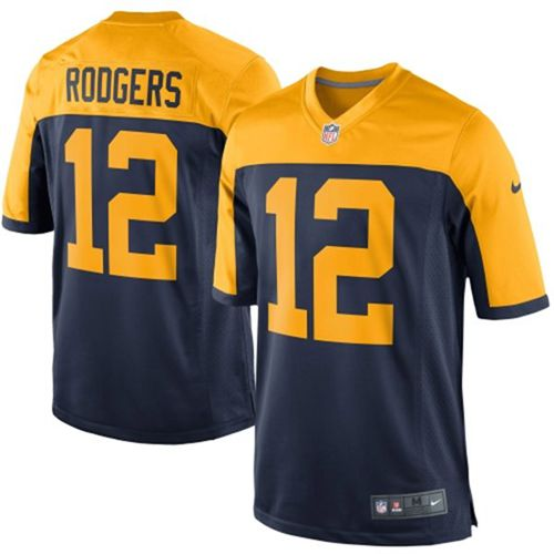 Nike Packers #12 Aaron Rodgers Navy Blue Alternate Youth Stitched NFL New Elite Jersey