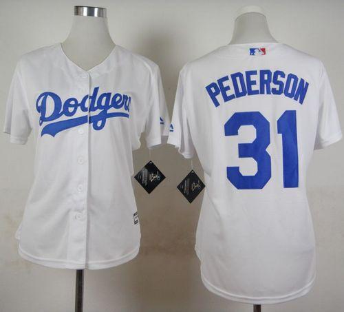 Dodgers #31 Joc Pederson White Home Women's Stitched MLB Jersey