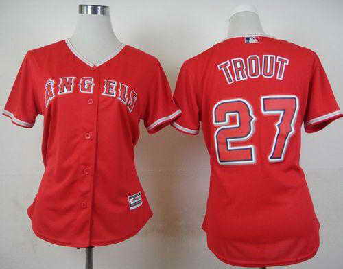 Angels #27 Mike Trout Red Alternate Women's Stitched MLB Jersey