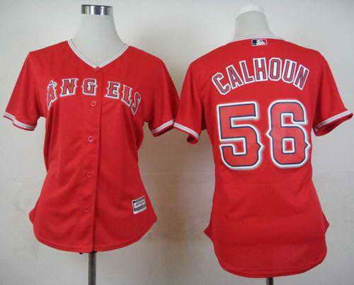Angels #56 Kole Calhoun Red Alternate Women's Stitched MLB Jersey