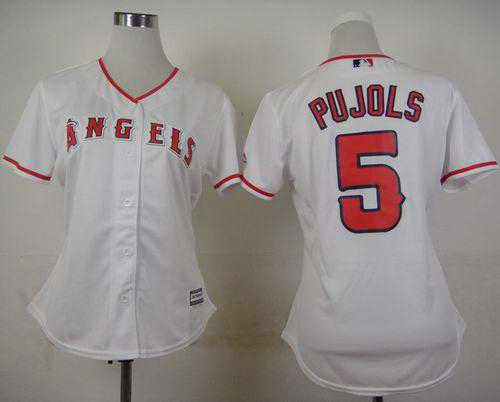 Angels of Anaheim #5 Albert Pujols White Women's Fashion Stitched MLB Jersey