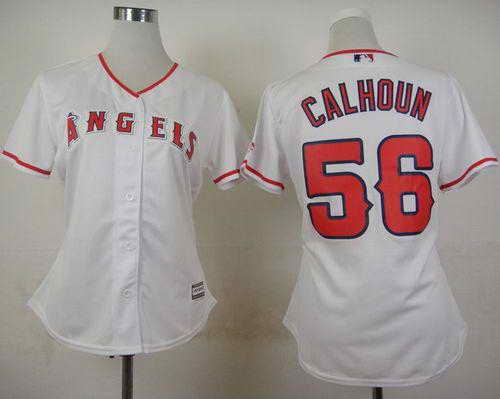 Angels #56 Kole Calhoun White Home Women's Stitched MLB Jersey