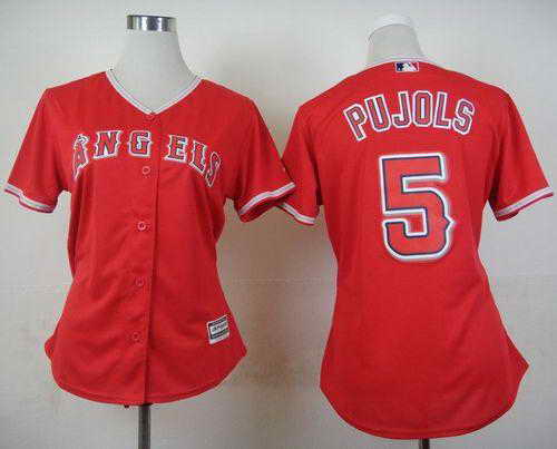 Angels #5 Albert Pujols Red Alternate Women's Stitched MLB Jersey