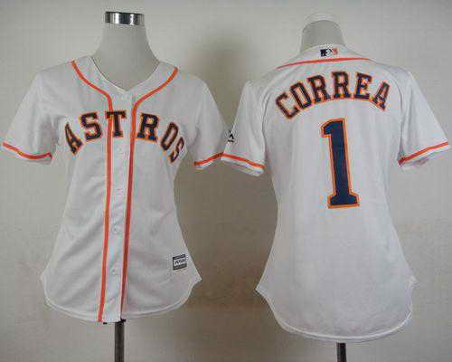 Astros #1 Carlos Correa White Home Women's Stitched MLB Jersey