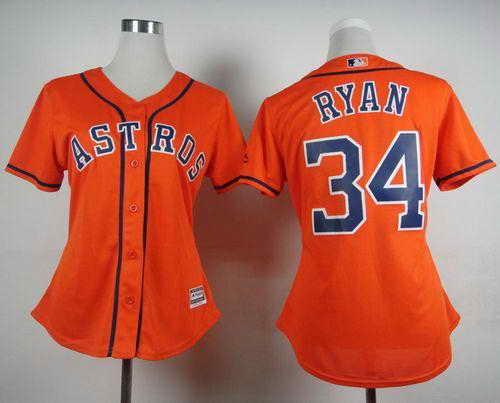 Astros #34 Nolan Ryan Orange Alternate Women's Stitched MLB Jersey