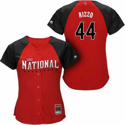 Cubs #44 Anthony Rizzo Red 2015 All-Star National League Women's Stitched MLB Jersey