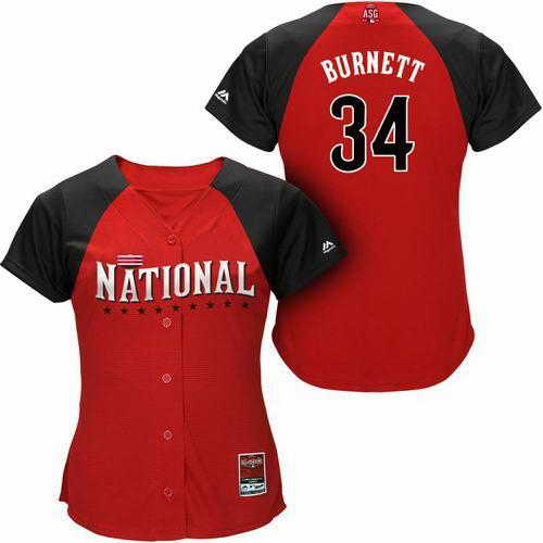Pirates #34 A. J. Burnett Red 2015 All-Star National League Women's Stitched MLB Jersey
