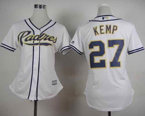 Padres #27 Matt Kemp White Home Women's Stitched MLB Jersey