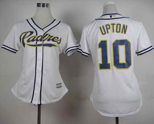 Padres #10 Justin Upton White Home Women's Stitched MLB Jersey