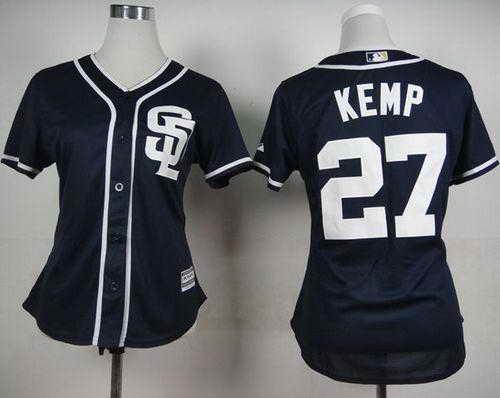 Padres #27 Matt Kemp Navy Blue Alternate 1 Women's Stitched MLB Jersey