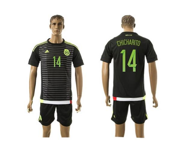 2015-16 Mexico National Team #14 Chicharito Away Soccer Shirt Kit