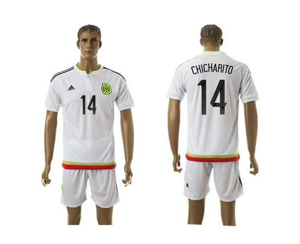 2015-16 Mexico National Team #14 Chicharito Home Soccer Shirt Kit