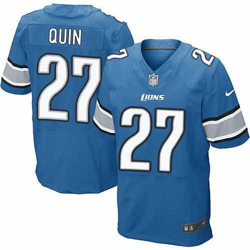 Nike Lions #27 Glover Quin Blue Men's Stitched NFL Elite Jersey