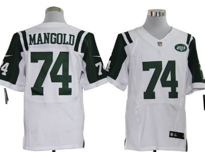 New York Jets #74 Nick Mangold White Road NFL Nike Elite Jersey