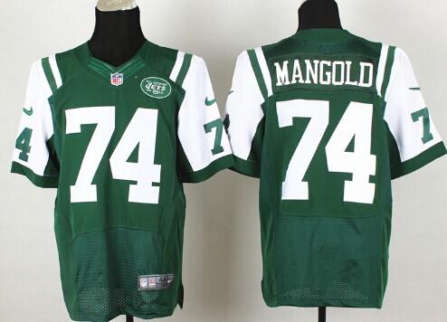 New York Jets #74 Nick Mangold Green Team Color NFL Nike Elite Jersey