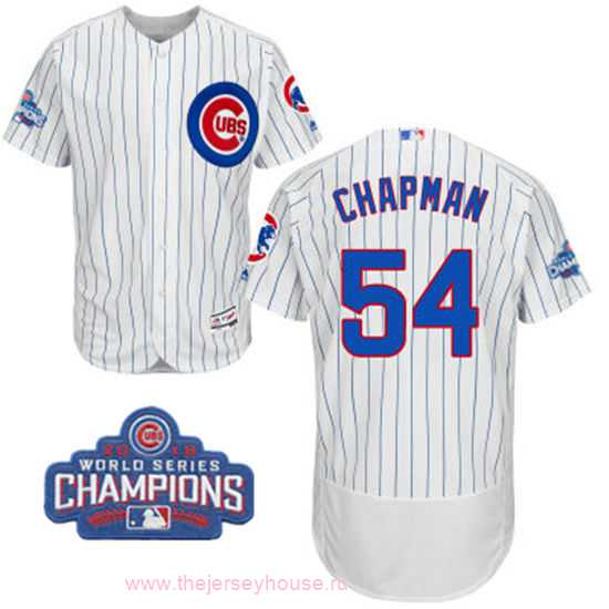 Men's Chicago Cubs #54 Aroldis Chapman White Home Majestic Flex Base 2016 World Series Champions Patch Jersey