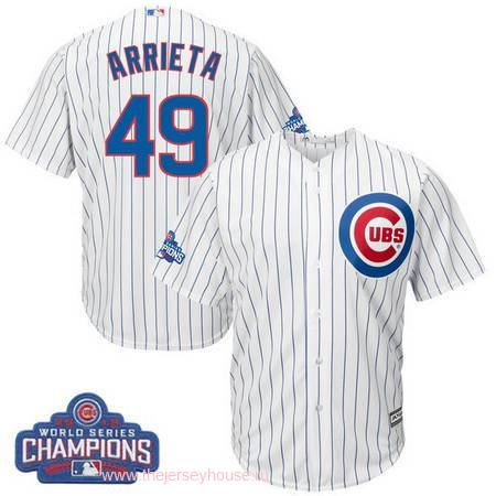 Men's Chicago Cubs #49 Jake Arrieta Majestic White Home 2016 World Series Champions Team Logo Patch Player Jersey