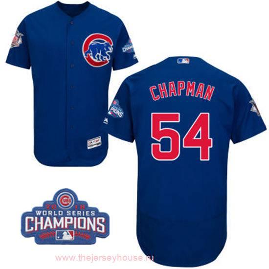 Men's Chicago Cubs #54 Aroldis Chapman Royal Blue Majestic Flex Base 2016 World Series Champions Patch Jersey