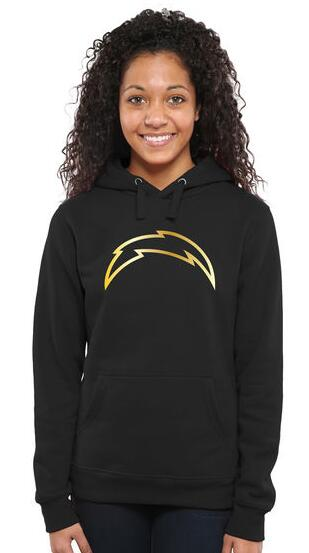 Women's San Diego Chargers Pro Line Black Gold Collection Pullover Hoodie