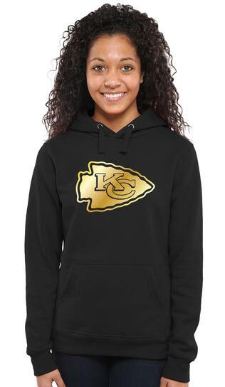 Women's Kansas City Chiefs Pro Line Black Gold Collection Pullover Hoodie