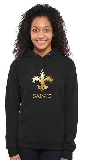 Women's New Orleans Saints Pro Line Black Gold Collection Pullover Hoodie