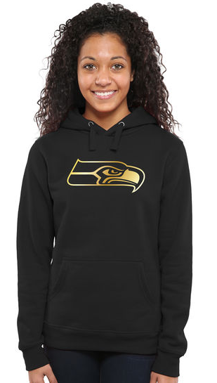 Women's Seattle Seahawks Pro Line Black Gold Collection Pullover Hoodie