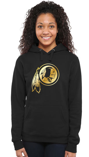 Women's Washington Redskins Pro Line Black Gold Collection Pullover Hoodie
