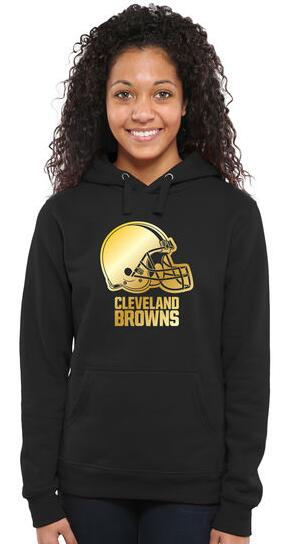 Women's Cleveland Browns Pro Line Black Gold Collection Pullover Hoodie朗