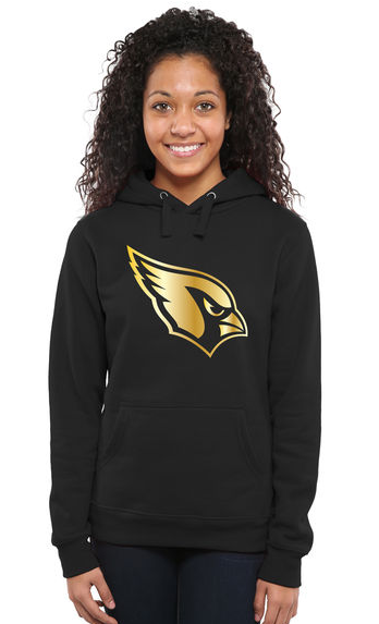 Women's Arizona Cardinals Pro Line Black Gold Collection Pullover Hoodie