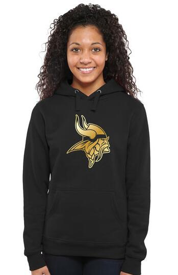 Women's Minnesota Vikings Pro Line Black Gold Collection Pullover Hoodie