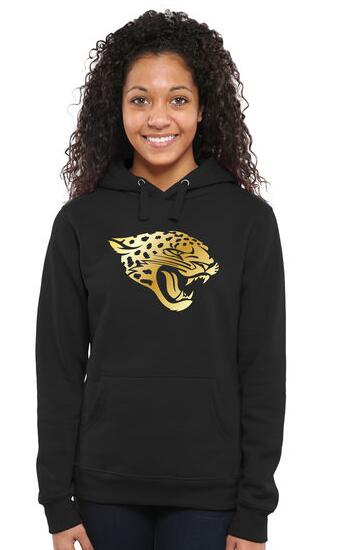Women's Jacksonville Jaguars Pro Line Black Gold Collection Pullover Hoodie
