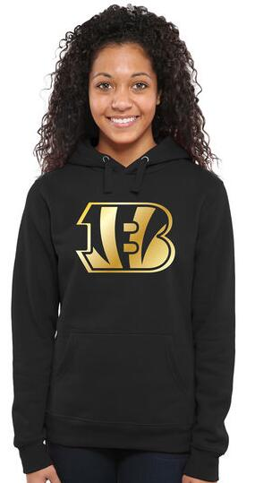 Women's Cincinnati Bengals Pro Line Black Gold Collection Pullover Hoodie