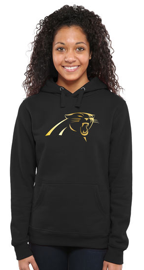 Women's Carolina Panthers Pro Line Black Gold Collection Pullover Hoodie