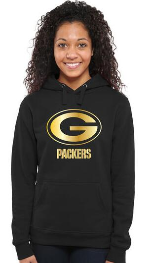 Women's Green Bay Packers Pro Line Black Gold Collection Pullover Hoodie