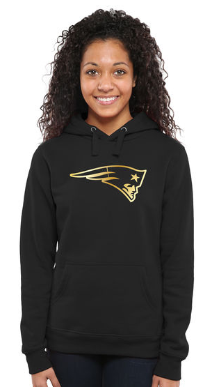 Women's New England Patriots Pro Line Black Gold Collection Pullover Hoodie