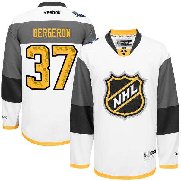 NHL #37 Patrice Bergeron White 2016 All-Star Premier Jersey