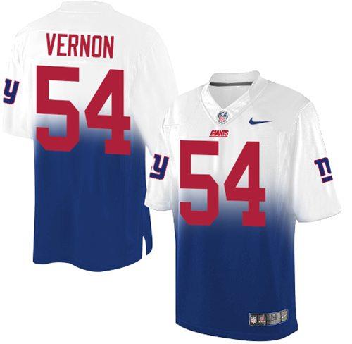 Nike Giants #54 Olivier Vernon Royal Blue White Men's Stitched NFL Elite