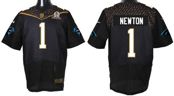 Men's Carolina Panthers #1 Cam Newton Black 2016 Pro Bowl Nike Elite Jersey
