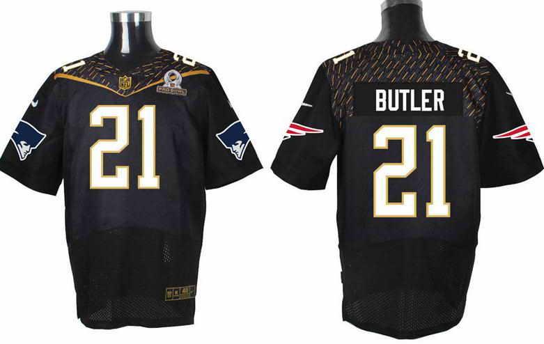 Nike New England Patriots #21 Malcolm Butler Black 2016 Pro Bowl Elite Jersey