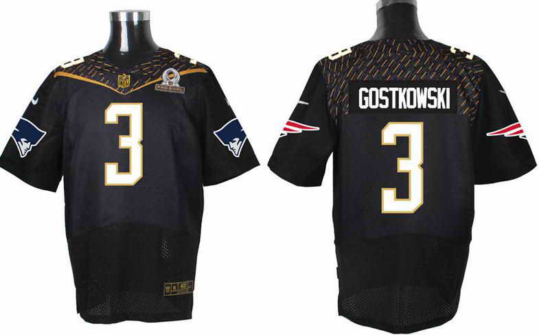 Nike New England Patriots #3 Stephen Gostkowski  Black 2016 Pro Bowl Elite Jersey