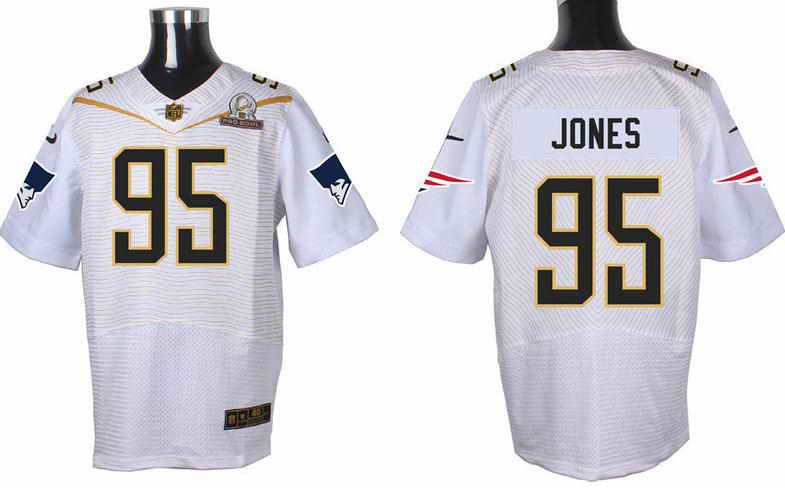 Nike New England Patriots #95 Chandler Jones White 2016 Pro Bowl Elite jersey
