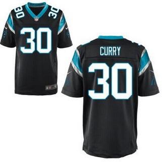Men's Carolina Panthers #30 Stephen Curry Black Team Color NFL Nike Elite Jersey