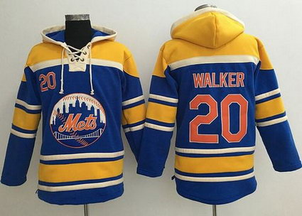 New York Mets #20 Neil Walker Blue Sawyer Hooded Sweatshirt MLB Hoodie