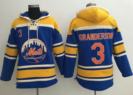 New York Mets #3 Curtis Granderson Blue Sawyer Hooded Sweatshirt MLB Hoodie