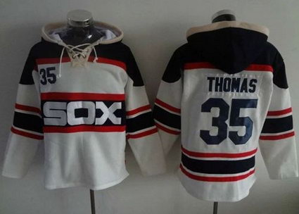 Chicago White Sox #35 Frank Thomas White Sawyer Hooded Sweatshirt Alternate Home MLB Hoodie
