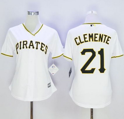 Women's Pittsburgh Pirates #21 Roberto Clemente White Home Stitched Baseball Jersey