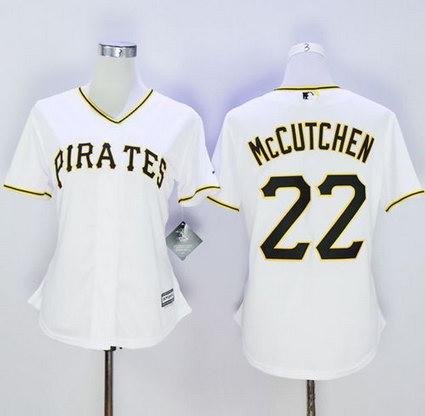 Women's Pittsburgh Pirates #22 Andrew McCutchen White Fashion Stitched Baseball Jersey