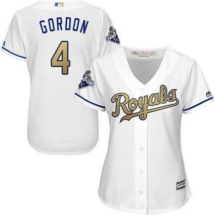 Women Kansas City Royals #4 Alex Gordon White 2015 World Series Champions Gold Program Cool Base Stitched MLB Jersey