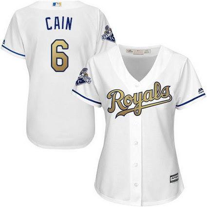 Women Kansas City Royals #6 Lorenzo Cain White 2015 World Series Champions Gold Program Cool Base Stitched MLB Jersey